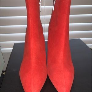 Red Suede ankle booties.